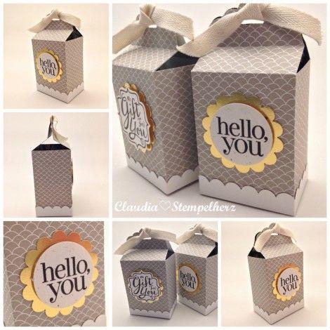 Stampin Up - Stempelherz - Box - Tüte - Schachtel - Stanze Gewellter Anhänger - Etikettenanhänger-Schachtel hello you Collage