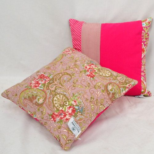 Bright Pink patchwork cushions / pillows by RECOVERTEAM on Etsy