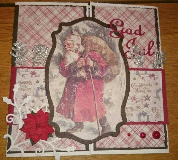 Julekort med maja design ark,  god jul dies fra papirdesign,  storyteller poinsetta, spellbinders oval dies,
