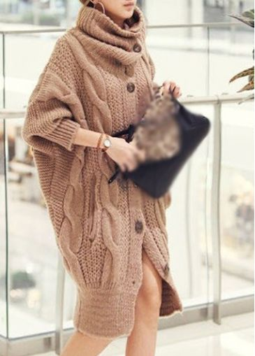 Chic Long Sleeve Turtleneck Woman Cardigans for Work | modlily.com