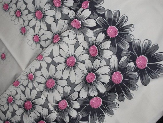 Lovely Pink And Grey Daisies Vintage Kitchen Tablecloth Reserved For LINDA