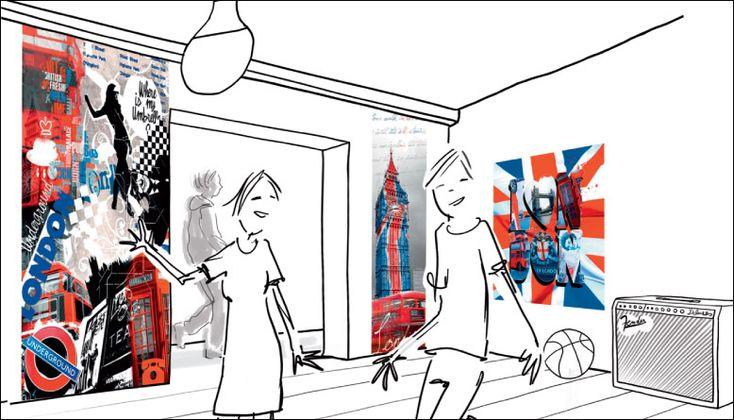 Déco london, poster et papiers peints déco Londres.