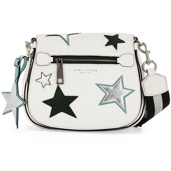 Marc Jacobs Star Patchwork Small Saddle Bag ($520) ❤ liked on Polyvore featuring bags, handbags, shoulder bags, star white multi, flap purse, pebbled-leather handbags, star purse, marc jacobs and patchwork purses