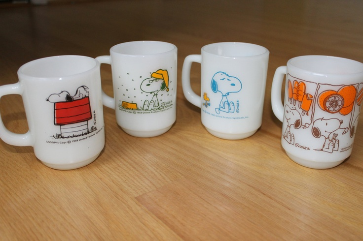 Anchor Hocking Snoopy Mugs. $120