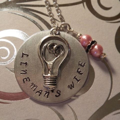 Lineman's Wife Necklace Hand Stamped  by SouthernGirlCharmsAM, $30.00