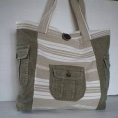 Grand sac en jean velours recyclé et toile à matelas