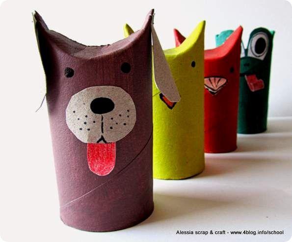 Toilet paper rolls TP tubes Kids craft DIY rainy days work #animals Lavoretti, zoo con i tubi di cartone: il cagnolino