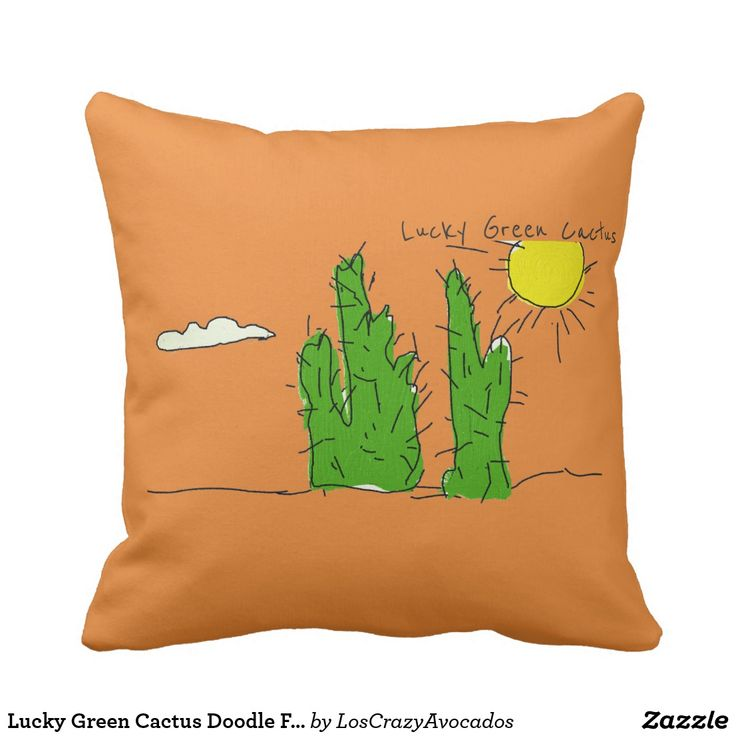 Lucky Green Cactus Doodle Funky Throw Pillow