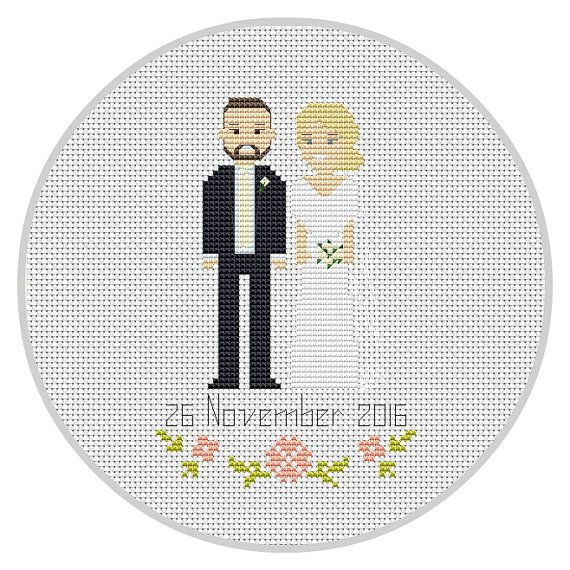 Custom Cross Stitch Wedding 2nd Anniversary Portrait от Xrestyk