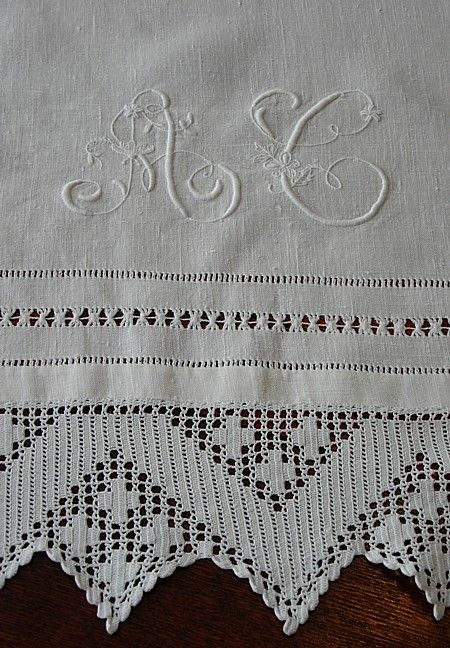 Em's Heart Antique Linens -Monogrammed Antique Italian Linen Show Towel