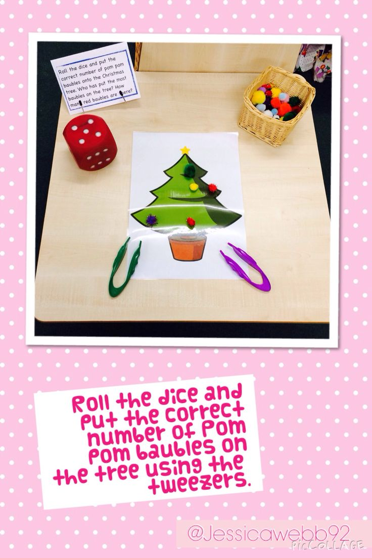 Take turns to roll the dice and put the correct number of baubles onto the tree using the tweezers. EYFS