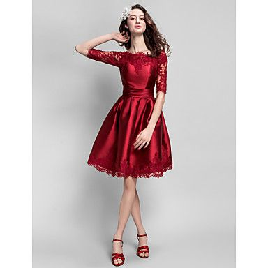 Cocktail Party Dress - Burgundy Plus Sizes / Petite Ball Gown Bateau Knee-length Satin – USD $ 84.99