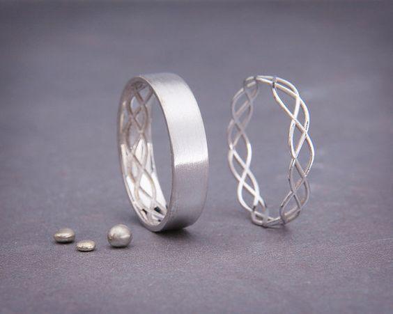14K oro blanco eternidad Servilletero Set | Blanco de 14k hecho a mano anillos de bodas de oro de la eternidad | Su y suyo vendas de boda