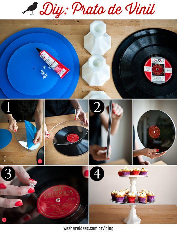passo a passo de como fazer um prato de cupcakes usando discos de vinil e castiçais.