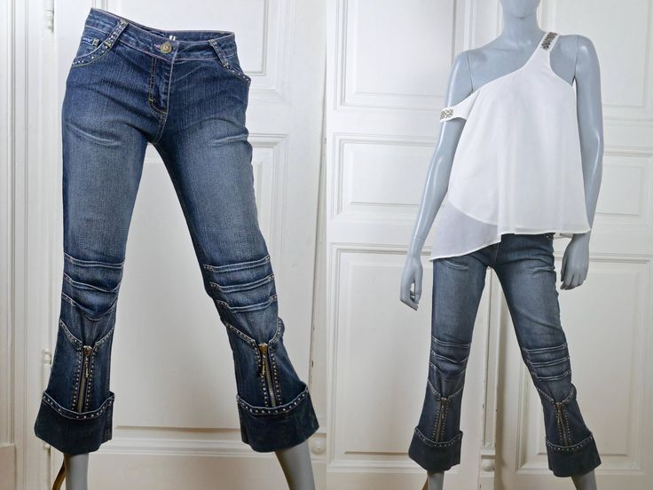 1990s Denim Capris Pants, Women's Vintage Blue Jeans Capris w Turned-Up Cuffs and Diamanté Accents: Size 8 US, 12 UK, 30-Inch Waist