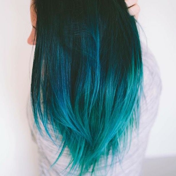 Black Blue Teal Aqua Blue Balayage Ombre On Long Hair