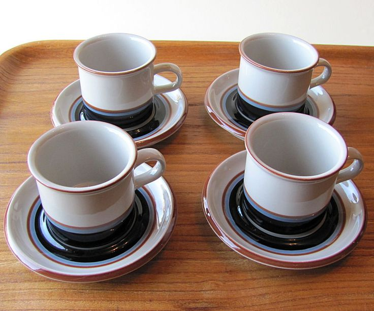 Set of Four Arabia Finland Vintage Retro Taika Coffee Cups and Saucers #Arabia