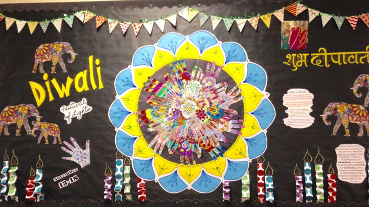 This year our 5th garde class theme is world travelers. This Diwali board took us to India. The kids colored all of the hands themselves and placed them in a circle to create the beautiful mandala for the middle.