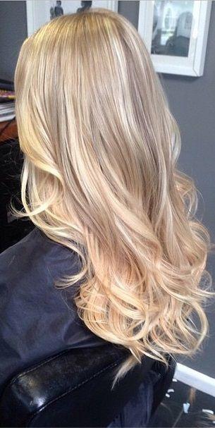 honey and vanilla blonde highlights Long Blonde Beach Hair