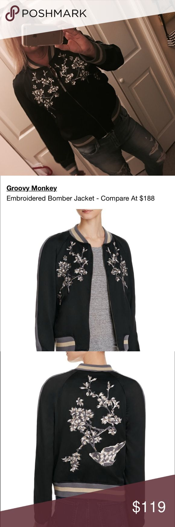 Satin Bomber Jacket New with tags, super cool Asian floral print bomber jacket. XL. Purchased this year, just haven't had an opportunity to wear it. Groovy Monkey Jackets & Coats