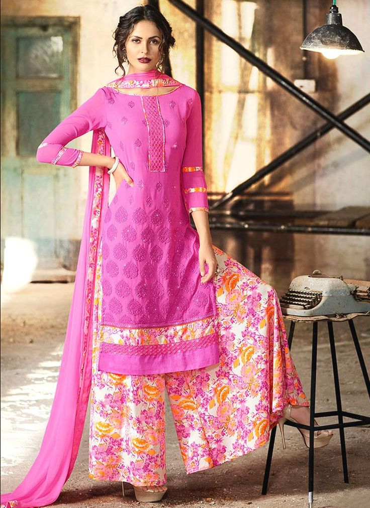 Buy latest salwar kameez designs and designer salwar suits online. Grab this georgette print work designer palazzo suit.