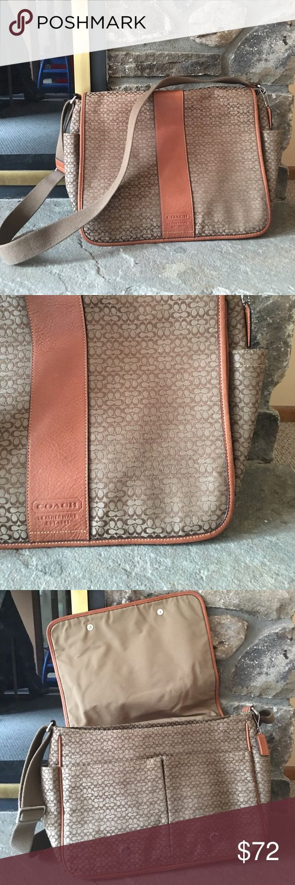 Coach messenger bag Light wear. Messenger bag. Fits my computer (Mac book) and books plus side pocket for drinks. 1 or 2 small pen marks on the inside but overall it's in really good condition Coach Bags Laptop Bags