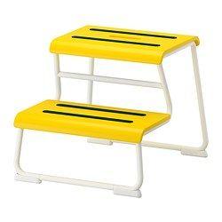 GLOTTEN Opstapje/kruk, geel, wit - geel/wit - IKEA