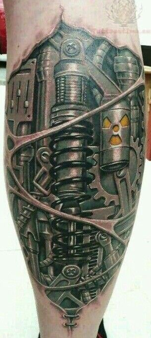 biomechanical calf leg tattoo tattoo pinterest. Black Bedroom Furniture Sets. Home Design Ideas