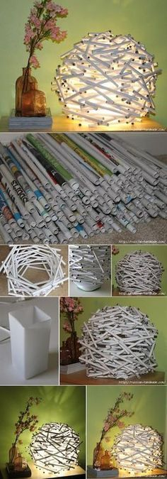 DIY Newspaper Tube Night Light DIY Projects / UsefulDIY.com on imgfave