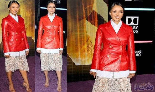إطلالة كاترينا غراهام باللون الأحمر ي ثير الإعجاب في هوليوود Fashion Red Leather Jacket Leather Jacket