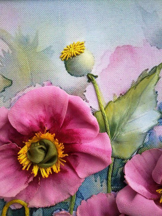 Вышивка: розовые маки (вышивка лентами
