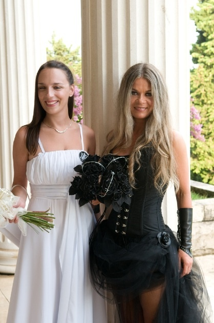 english leather roses and black corset wedding idea