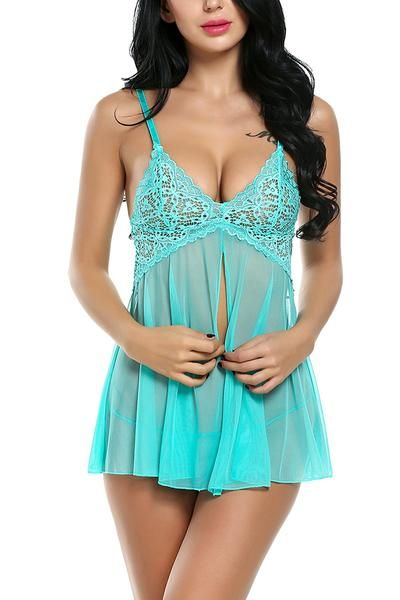 4c0d92473f41 Lace Babydoll Lingerie Chemises Sexy Outfits Nightwear G-String Set -  HughDeal4Less