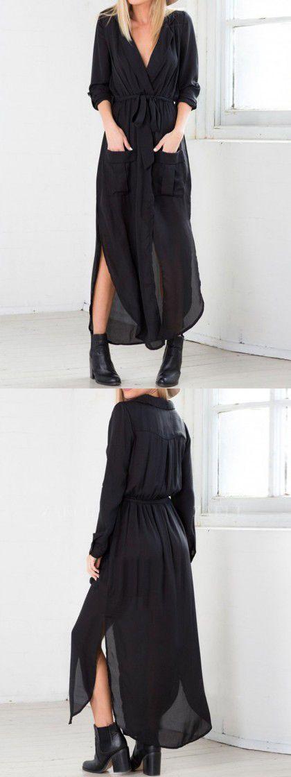 Black Bow Tie Side Split Pocket Wrap Ruched Dress