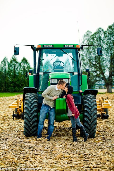 Fall Engagement Photos - i like the tractor idea but would take the pic a little different