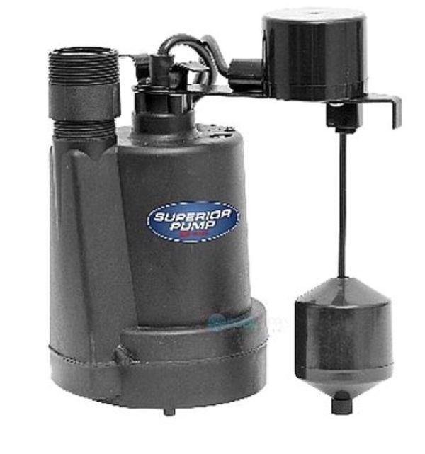 Superior Pump Submersible Sump Pump 1 4 Hp Thermoplastic Top