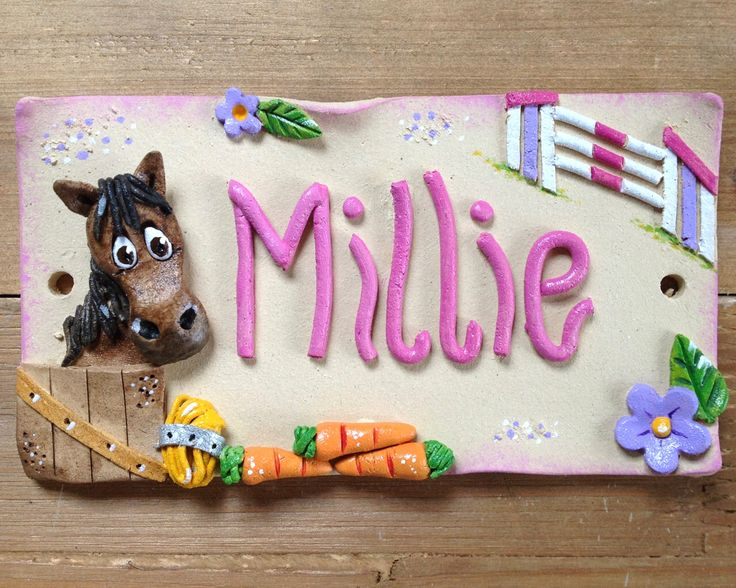 Horse Stable Stall Sign, Personalised Name Plaque for Horses and Donkeys, Ceramic plaque by BlueFishStudiosShop on Etsy https://www.etsy.com/listing/481830089/horse-stable-stall-sign-personalised