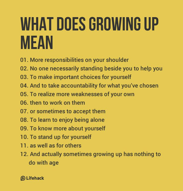 "What Does Growing Up Really Mean - ""To realize your weaknesses, then to work on them or sometimes to accept them."""
