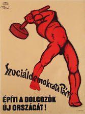 SOCIAL DEMOCRATIC PARTY Original Hungarian Vintage Propaganda Poster 1947