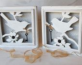 Cottage Chic White Wood Bird Sihouette Wall Art with Iron Keys, Set of 2 Distressed Frames with White Birds and Keys