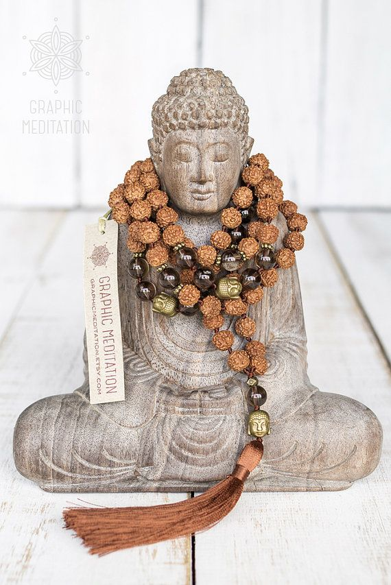 This mala beads is made with natural rudraksha seeds and smoky quartz stone. Each bead is individually hand knotted. Prayer mala or meditation beads are used by Buddhists and Hindu around the world. In Tibet, Nepal and India they are used for meditation, counting mantras, and prostration. Malas are worn on the neck or left wrist while not in use. It may also serve as a nice accessory in everyday life or on some special occasion.  DETAILS: • Hanging Length: 23 (58cm) • Diameter: 38 (96cm)…