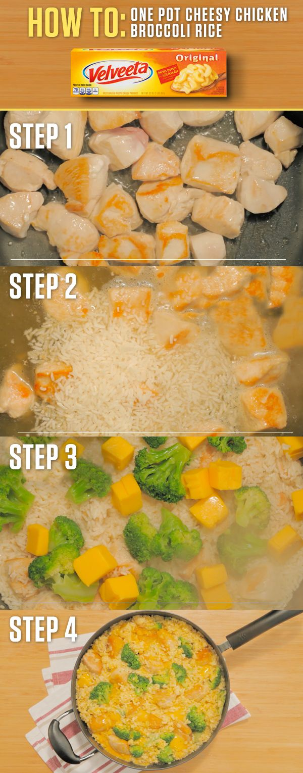Have 25 minutes? The cheesy goodness of VELVEETA + a few simple ingredients = a quick meal packed with flavor. Get the full recipe and more at http://www.kraftrecipes.com/velveeta/velveeta-one-pot-cheesy-chicken-broccoli-rice-50119.aspx?cm_mmc=Social-_-Pi (Simple Dinner Recipes 3 Ingredients)