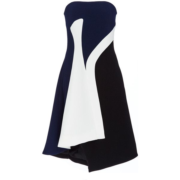 Prabal Gurung Tricolor Crepe Cocktail Dress (8.270 BRL) ❤ liked on Polyvore featuring dresses, colorblock dress, white cocktail dress, white crepe dress, strapless a line dress and multi coloured dress