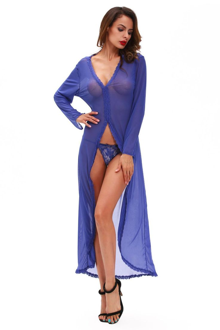 Robe & Robe Longue Sexy Sheer Sleeve Haut Bas Robe Avec Thong Pas Cher www.modebuy.com @Modebuy #Modebuy #Bleu #me #vetements #sexy