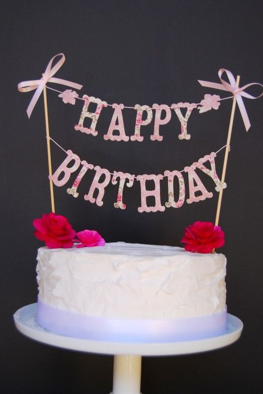 CAKE BANNER Happy Birthday  by bluembellish on Etsy