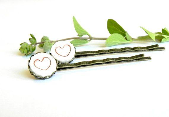 2 Forcine ceramica cuore rosso porcellana bianca pizzo antico bronzo tondo vassoio clip capelli lisci