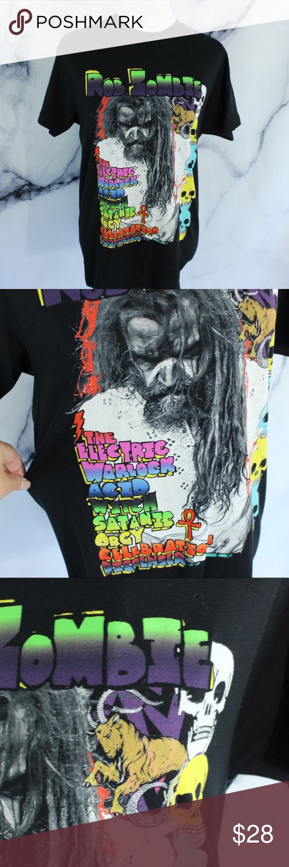 Rob Zombie Rainbow Concert T shirt M •CONDITION: pre owned. •FLAWS: No pilling, stains, or rips. •Feel free to make an offer -OR- bundle your likes for me and I'll send you an offer with an exclusive discount! Rob Zombie Shirts Tees - Short Sleeve
