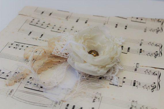 Fabric Flower Wrist Corsage Vintage Wedding Ball by onebrassbutton