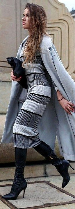 Street Style. Gray coat, dress, black bag. fall autumn women fashion outfit clothing style apparel @roressclothes closet ideas