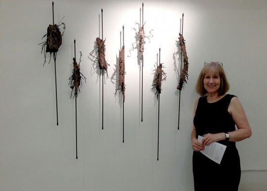 Textile artist Ann Goddard with her piece At Stake at the recent exhibition at Goldsmiths by the 62 Group.